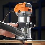VonHaus Oberfräse - 710W - 3 Spannzangen: ¼ Zoll, 6 mm, 8mm - Mit Trimmer für Holz- und Laminatböden - 2