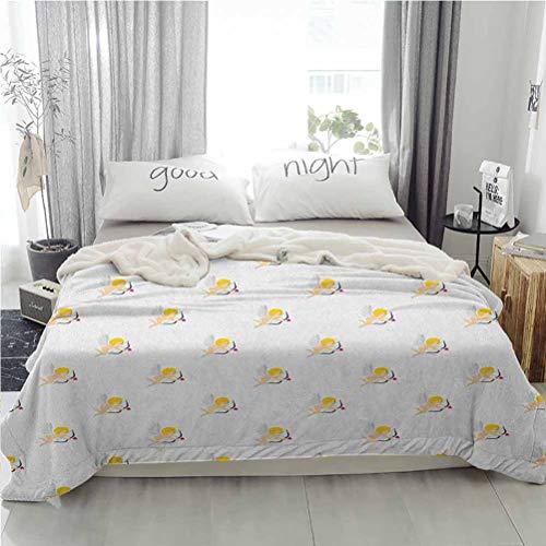 ParadiseDecor 50'x60' Angel Sherpa Fleece Blanket Warm Cozy Microfiber Bed Blanket Cupid Pattern Amour Love Arrow Mythic Romance Kids Baby Angels Children Peach Earth Yellow White