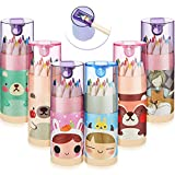 Outus 6 Packs Mini Drawing Colored Pencils with Sharpener Cartoon Coloring Pencil Portable Pencils in Tube for Kid Adults Artists Writing Sketching