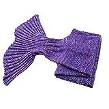 Suave Manta De Punto con Forma De Cola De Sirena Cama De Dormir Hecho A Mano Crochet Anti-Pilling Manta De Hilo Portátil Regalo De Cumpleaños,Púrpura,90x50cm
