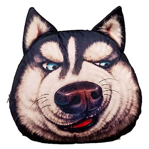 SUNSER Almohada De Juguete De Peluche Erha, Forma Husky, Almohada De La Cabeza del Perro De Simulación 3D, con Manta, Decoración del Hogar,Disdain