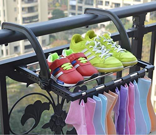 ASUVI Soporte plegable para techo de balcón para ropa, toallas, clavijas, tendedero, barandilla, pasillo de ventana, balcón (color – según disponibilidad)