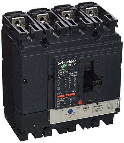 Schneider Electric LV431653 NSX250F Interruptor Automático Compact, TMD, 125A, 4 Polos 4R, 161mm x 140mm x 86mm