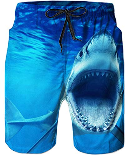 TUONROAD Mens Quick Dry 3D Printed Beach Shorts Turquoise Seawater Scary Open Mouth Shark Teeth Casual Style Vintage Surfing Board Shorts Toddler Lightweight Competitive Baseball Swim Trunks