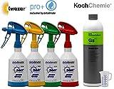 4 Stück Kwazar Mercury Super PRO+ 360 Grad VITON Sprühflasche 0,5 Liter + 1 Liter KOCH Chemie Green Star Universalreiniger + Detailmate 50ml Messbecher
