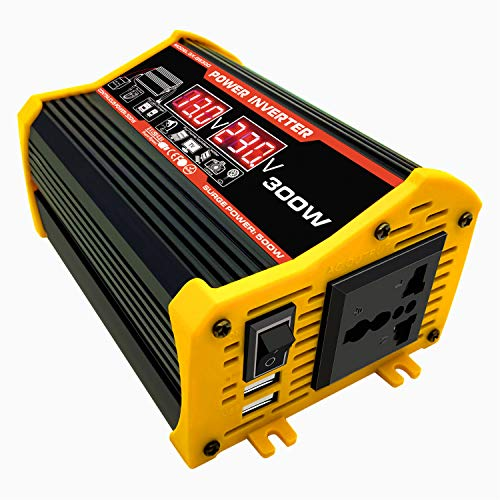 GQFGYYL 300W Power Inverter 12V to 110V/ 220V Voltage Converter Car Charger Power Adapter with 2 USB Charging Ports (Black and Yellow for Your Choice),Black,12V to 220V