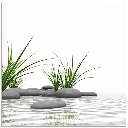 Artland Glasbilder Wandbild Glas Bild einteilig 30x30 cm Quadratisch Wellness Zen 3D Steine Entspannung Spa Gräser See Modern T6CD