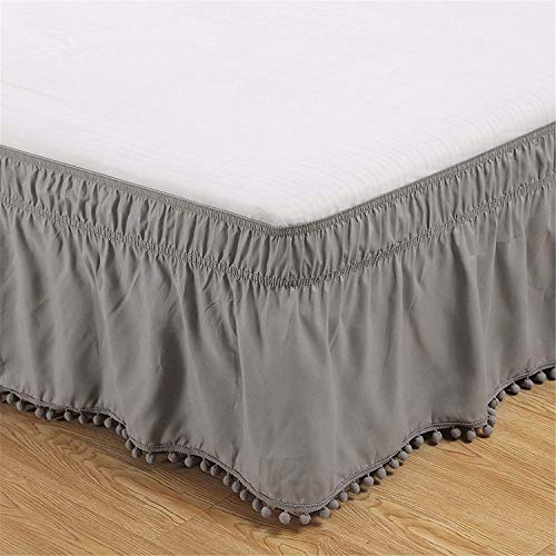 Polyester Bed Skirt Wrap Around Three Fabric Sides Elastic Dust Ruffle, Easy Fit Wrinkle - with 15 Inch Drop (Color : Gray, Size : 198X203+38)
