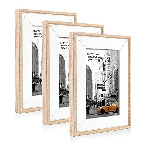 Metrekey 3er Set Bilderrahmen 10x15 cm Natur Holzmaserung aus MDF mit Echtglas Deko Fotorahmen für Foto Urkunden wandhängend oder freistehen