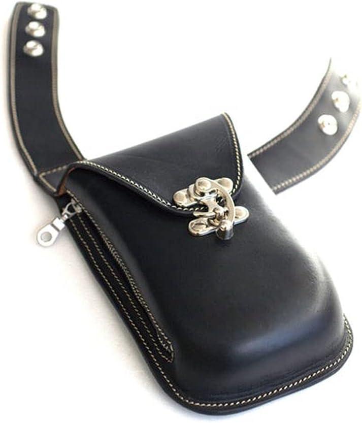 HLGQ Cartera de Chaleco de Cuero Medieval Steampunk, Billetera de teléfono Vintage para Hombres, Funda de Doble Bolsillo, Billetera de Caballero Vikingo,Negro