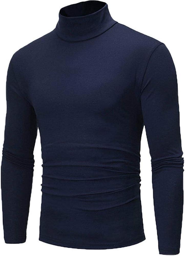 Navy Blue - Men's Winter Pullover Jumper Sweater Warm Cotton High Neck Turtleneck Tops