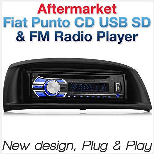TUNEZ® Façade d'autoradio 1 DIN noir compatible avec Fiat Punto Zastava 10 Hatch Hatchback 2ème génération 1999-2007 avec adaptateur de plaque de support pour lecteur radio MP3/USB/SD/AUX/FM
