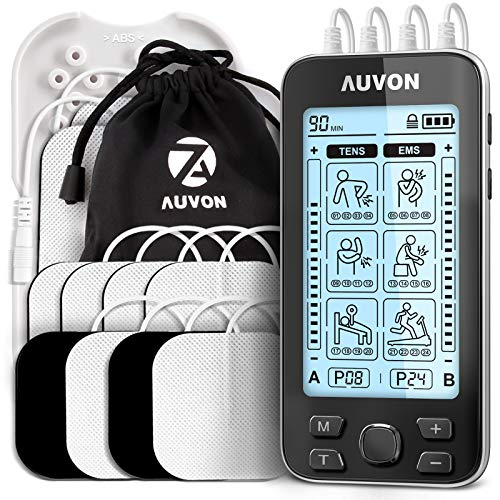 "AUVON 4 Outputs TENS Unit EMS Muscle Stimulator Machine for Pain Relief Therapy with 24 Modes Electric Pulse Massager, 2"" and 2""x4"" Electrodes Pads (Black)"