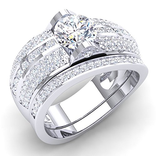Dazzlingrock Collection Sterling Silver White Cubic Zirconia CZ Ladies Bridal Engagement Ring with Wedding Bands Set, Size 9