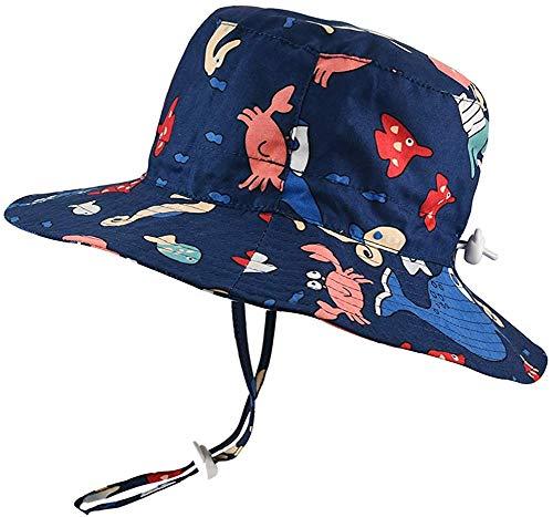 DRESHOW Sun del bebé sombrero del niño de Protección Solar Cap Animal unisex del verano del sombrero del cubo con la correa de barbilla UPF 50+