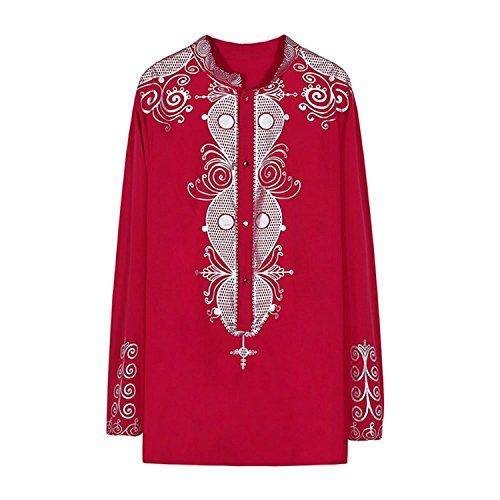 Deylaying Hombre Retro África Tradicion Vestir Disfraz Impreso Manga Larga Tribal Camisas Nación Ropa Dashiki