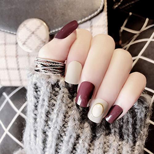 WOVP Faux Ongles 24 Pcs Mix Couleur Faux Presse sur Les Ongles Pure Couleur Imitation Perle Court Carré Pleine Couverture Nail Art Faux Ongles avec De La Colle pour Les Filles