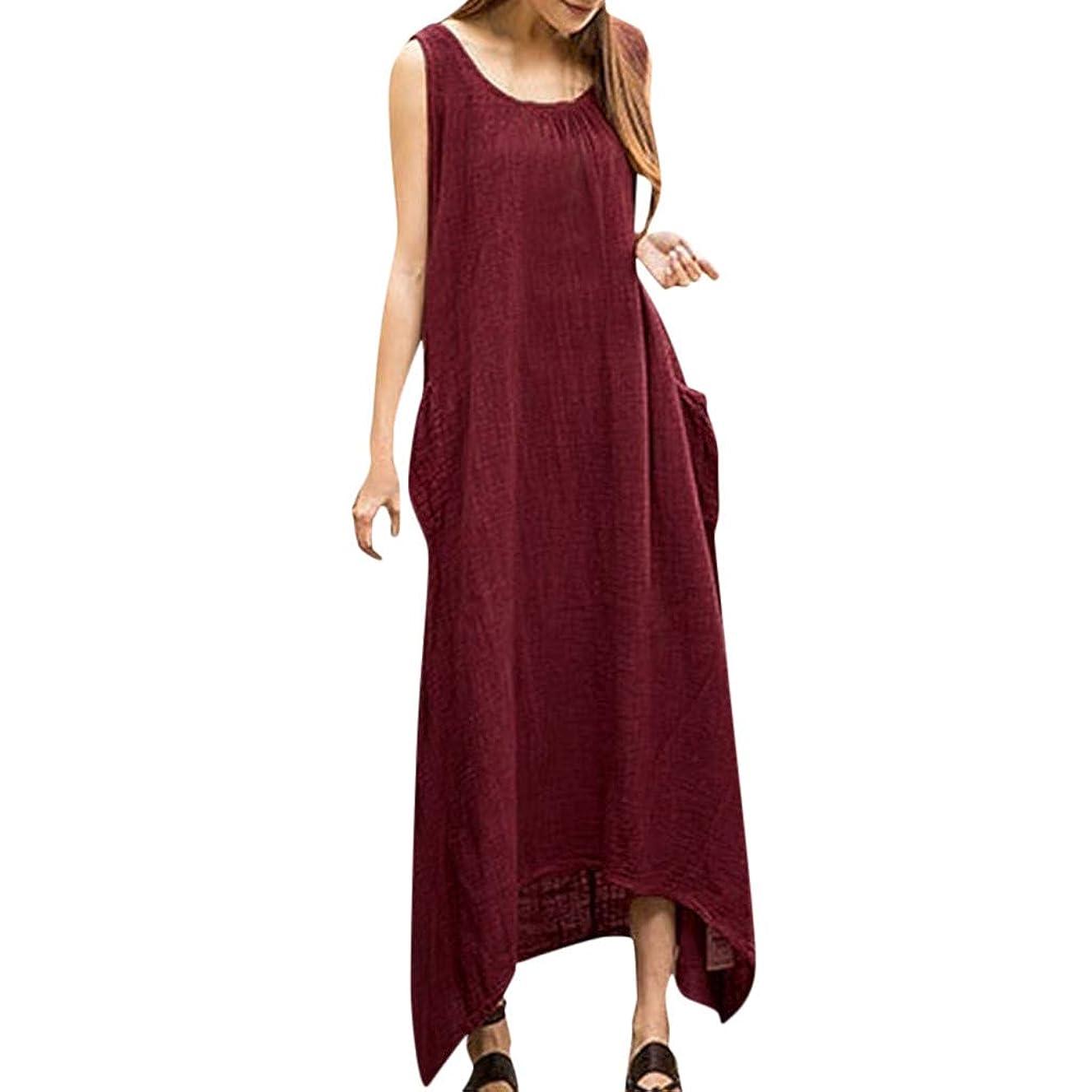 Usstore Women Maxi Dress Cotton Linen Irregular Plus Size Vintage Casual Boho Simply Sleeveless Pockets Tank Baggy Sundress
