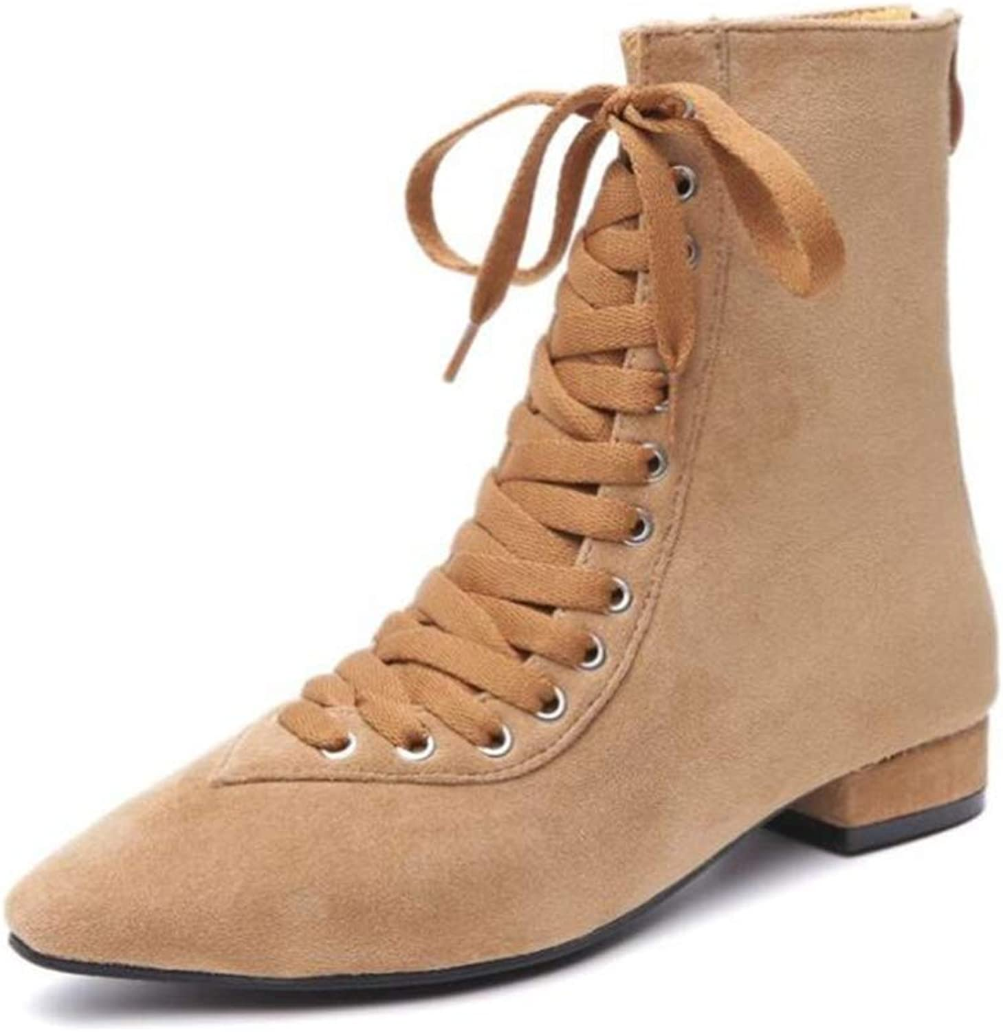 Shiney Women's Martin Boots Pointed Booties Female 2018 Autumn Matte Lace Up Chunky Heel Flat Bare Boots