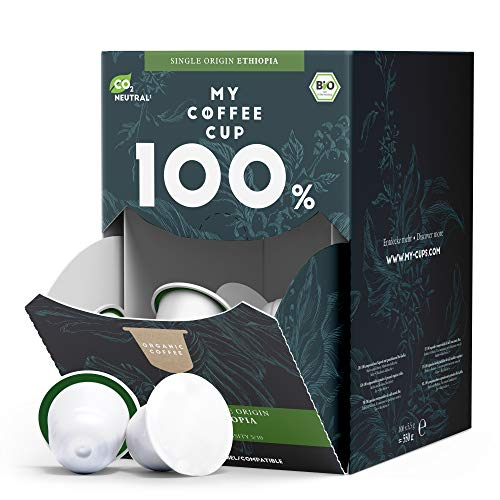 My Coffee Cup – MEGA BOX SINGLE ORIGIN ETHIOPIA – BIO-KAFFEE I 100 Kaffeekapseln für Nespresso®³-Kapselmaschinen I 100% industriell kompostierbare Kaffeekapseln – 0% Alu I Nachhaltige Kaffeekapseln