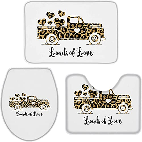 YUMNKJHGFRT 3 Pieces Bathroom Rugs and Mats Sets, Non Slip Water Absorbent Bath Rug, Toilet Seat/Lid Cover, U-Shaped Toilet Mat, Home Decor Doormats - Valentines Day Leopard Car Love Heart White Back