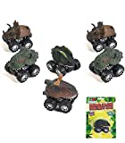 "Fun Express Friction Dino Cars (6 Pack) Assorted. 2 3/4"" x 2"". Dinosaur Pull Back Vehicles."