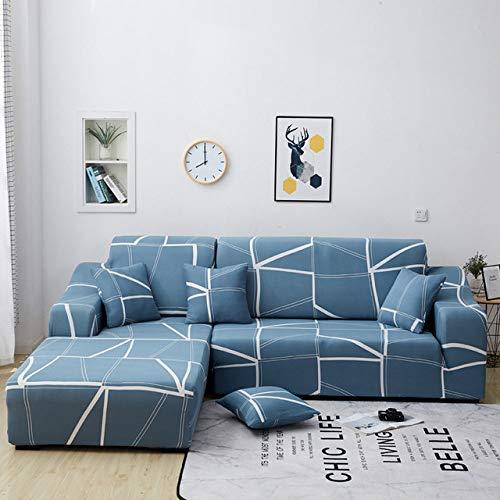 KTUCN Funda de sofa elastica de Color solido, Fundas elasticas de la Cubierta del sofa, para sofa Chaise Longue de Esquina seccional en Forma de L, C, 2pcs 1 Seat - 4 Seat