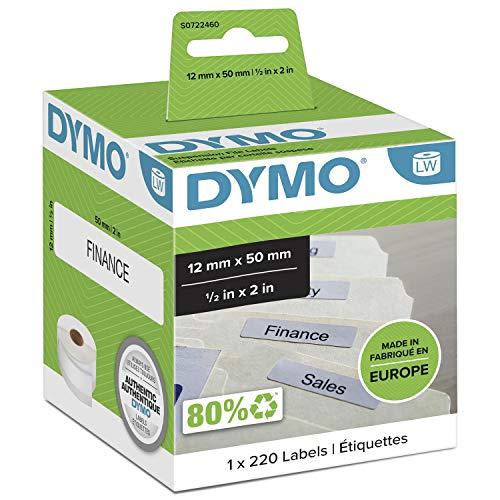 DYMO LW-Etiketten für Hängemappen | 12mm x 50mm | Rolle mit 220leicht ablösbaren Etikettenband | selbstklebend | für LabelWriter-Beschriftungsgeräte | authentisches Produkt