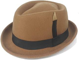 Hats and Caps Gangster Hat Hipster 2019 Fedora Hat Felt Wool Black Feather Ladies Hat Men's Panama Jazz Hat (Color : Khaki, Size : 56-58CM)