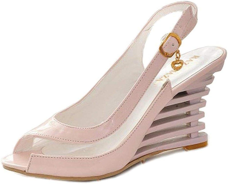 MEIZOKEN Women's Wedge Sandals Stylish Peep Toe Transparent shoes Summer Buckle Strap Platform Sandals