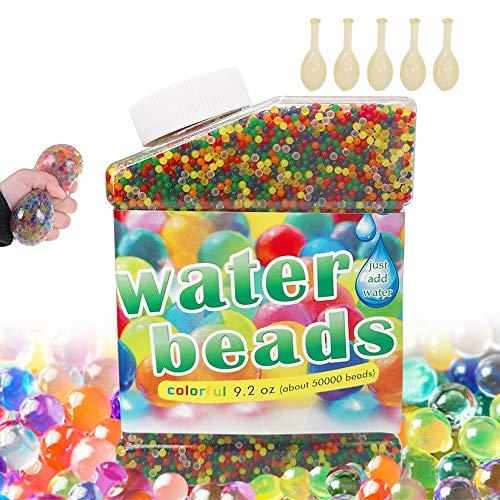 feihao Wasserperlen.50000 Stück Wassergel-Kugeln.Wasserperlen Mix Aquaperlen,Für Vase Füllstoff Pflanzen Blumen Hauptdekoration(zusätzliche 5 Luftballons enthalten)