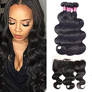 Ulove Hair Brazilian Body Wave Bundles With 13x4 Frontal 100% Unprocessed Hair Weave Human Hair Bundles Natural Color(10 12 14+10