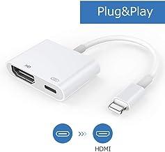 Adaptador Cable HDMI, Adaptador AV Digital 1080P con Puerto Hembra, Conector de Pantalla de sincronización HDMI Compatible con teléfono/Almohadilla [se Necesita Fuente de alimentación] (Blanco)