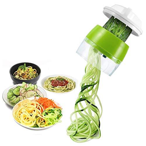 Ossky Spiralschneider Hand 4 in 1 Gemüsespaghetti Gemüse Spiralschneider, Gemüseschneider, Gemüsehobel für Karotte, Gurke, Kartoffel, Kürbis, Zucchini, Zwiebel