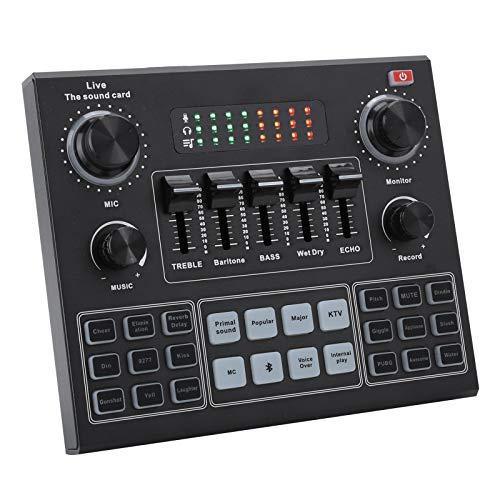 Bluetooth Soundkarte Stereo Audio Mixer, V9 Voice Changer Sound Mixer mit Effekten für Computerspiele Handy Live Broadcast