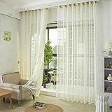 GJXY - Cortinas jacquard claro con ojales de la simple y el estilo moderno, suave cortina transparente transpirable para habitación de las grandes ventanas 1 pieza, 150 x 185 cm