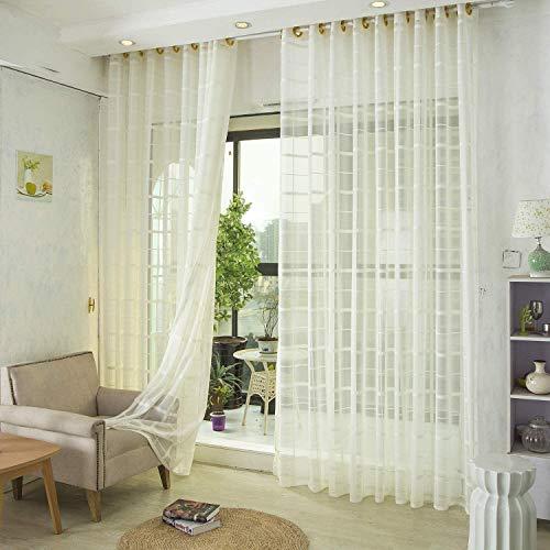 Voile gordijnen Jacquard Clear met oogjes Gordijnen eenvoudig en modern stijl zachte ademend Slaapkamer transparant gordijn voor grote ramen 1 stuk,White,250X270cm