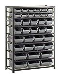 Edsal Bin Storage Rack, 36 Bins, 57'H x 44'W x 16'D, Black