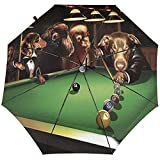 Paraguas tríptico automático Perros Jugar Billar Shoot The Ball Paraguas tríptico automático Protector Solar Paraguas de Lluvia UV a Prueba de Viento Paraguas Plegable para Hombres Mujeres