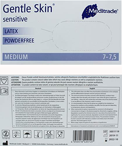 MedX5 (Upgrade 2020) 100x Latexhandschuhe in Spender-Box, Größe: M, PUDERFREI, EN455, nicht steril, Einweghandschuhe, Einmalhandschuhe