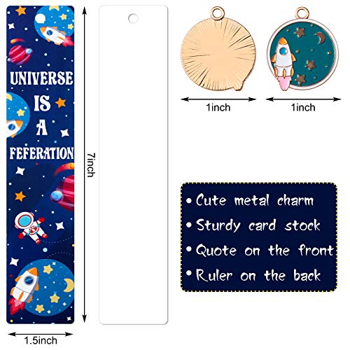 20 Pieces Space Theme Inspirational Quotes Bookmarks with Metal Charms School Classroom Prize Reading Party Favors Presents for Kids Boys Girls Adults Photo #2