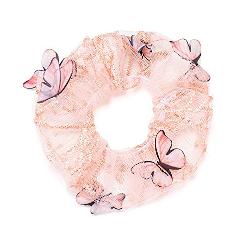 Mujeres Niñas Pelo Arco Ponytail Holder Señoras Headwear Scrunchy Hair Ties Cuerdas elásticas Bandas de pelo Coleteros de pelo Mariposa (rosa)