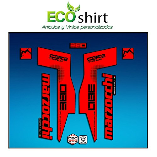 Ecoshirt WI-GTCZ-X904 Stickers Fork Marzocchi 380 C2Rc Titanium Am70 Aufkleber Decals Autocollants Fourche Gabel Fourche Rouge