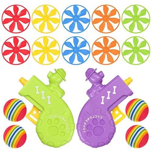 tiopeia Katze Holen Spielzeug Set, Enthält 2 Stück Cat Fetch Toys mit 10 Stück Colourful Flying Propellers und 4 Stück Regenbogen Weichschaum Bälle, Interaktives Spielzeug für Jagen und Trainier