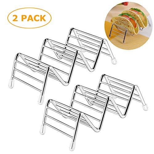 TADAE 2er-Pack Taco-Halter, Taco Stand Edelstahl Rostfrei Taco Rack Halten Sie 2 oder 3 Harte oder weiche Taco-Schalen