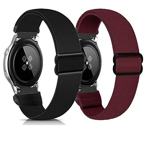 Zoholl Sport Bands compatibles con Samsung Galaxy Watch 46mm/Gear S3/Huawei GT 2 Correa de Reloj Correa Suave de liberación rápida de Repuesto Correas Deportivas Transpirables(22mm Negro+Vino)