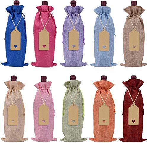 Keniot Wein-Geschenktüten aus Jute, mit Kordelzug, wiederverwendbar, mit Seilen und Etiketten (10 Stück) 10 Farben