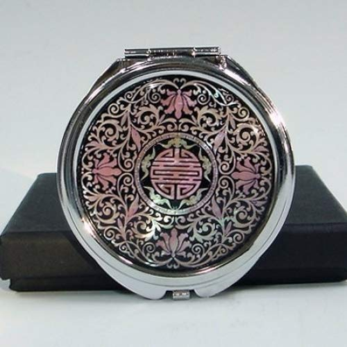 Mother of Pearl Elegant Double Makeup Pocket Compact Handbag Mirror with Arabesque Design by Antique Alive