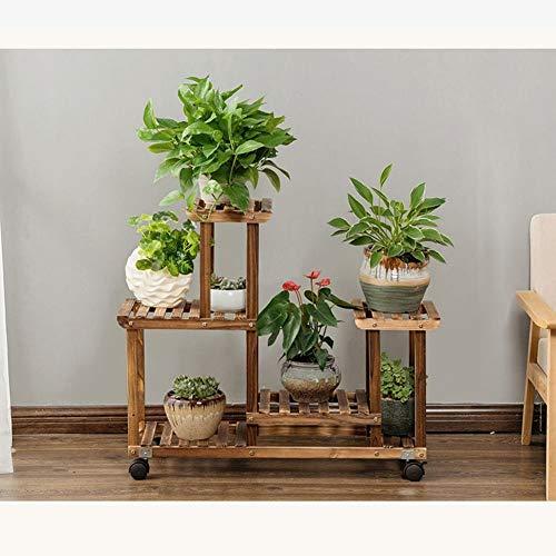 ZAHOYAN Plantenstandaard, massief houten potplantenrek kan overal bloempotstandaard verplaatsen balkon woonkamer vitrine plank meerlaags buiten 85×25×76cm