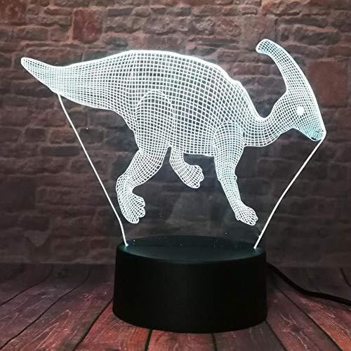 GCCQT Mooie dinosaurus 3D illusie lamp LED nachtlampje 7 kleuren wijzigen, Touch Control, USB-oplader, als decoratieve woonkamer slaapkamer en mooi verjaardagscadeau